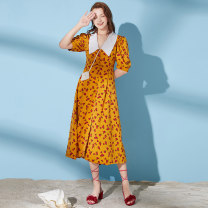 Dress Summer 2020 Primrose yellow S M L Mid length dress singleton  Short sleeve square neck Broken flowers puff sleeve Others 25-29 years old Type X Artka Embroidery stitching printing LA21304X1 More than 95% other Other 100%