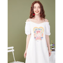 Dress Summer 2020 Snow white S M L Mid length dress singleton  Short sleeve commute One word collar Loose waist Socket routine Others 25-29 years old Type H Artka Patchwork printing ZA25_ AK008X1 More than 95% other Other 100%
