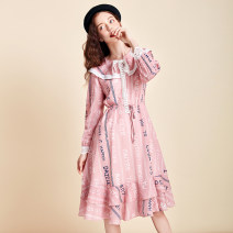 Dress Spring 2020 Pearl powder S M L Mid length dress singleton  Long sleeves Lotus leaf collar High waist Socket routine Others 25-29 years old Type X Artka Stitched lace print LA25006C More than 95% other Other 100%