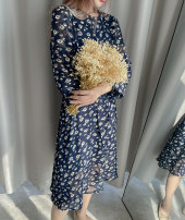 Dress Spring 2021 Broken flowers on the bottom of Tibetan blue S,M,L,XL longuette singleton  Long sleeves Sweet Crew neck middle-waisted Broken flowers Socket A-line skirt other Others Type A DEAR JANE'S COLLECTION More than 95% Chiffon polyester fiber