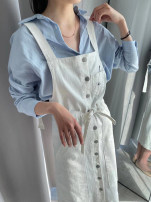 Dress Spring 2020 Denim white XS,S,M,L Long sleeves street Hood Solid color zipper routine 25-29 years old Hairy collar