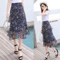 skirt Summer 2021 S,M,L,XL,2XL Mid length dress fresh High waist Cake skirt Decor Type A 81% (inclusive) - 90% (inclusive) Chiffon other Ruffle, zipper, stitching, printing 201g / m ^ 2 (including) - 250G / m ^ 2 (including)