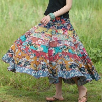 skirt Summer of 2019 Average size Blue, green, yellow, pink, nostalgic Short skirt commute Natural waist Cake skirt Decor Type A 25-29 years old More than 95% other branch cotton Stitching, printing literature