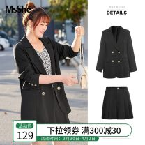 Women's large Spring 2021 XL 2XL 3XL 4XL 5XL 6XL suit singleton  commute Straight cylinder thin Cardigan Long sleeves Solid color Ol style routine Polyester others T2088096 MS she / mu Shan Shiyi 25-29 years old Button 96% and above Polyester 97% polyurethane elastic fiber (spandex) 3%