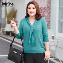 Women's large Spring 2021 Mediterranean green spot Mediterranean green classic black spot classic black XL 2XL 3XL 4XL 5XL 6XL sweater singleton  commute Self cultivation moderate Socket Long sleeves Solid color lady routine Cotton acrylic fiber T210208401 MS she / mu Shan Shiyi 25-29 years old