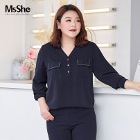 Women's large Spring 2021 Navy blue spot navy blue XL 2XL 3XL 4XL 5XL 6XL shirt singleton  commute easy thin Socket Long sleeves Solid color lady routine polyester fiber T2103176 MS she / mu Shan Shiyi 25-29 years old Button 96% and above Polyester 100% Pure e-commerce (online only)