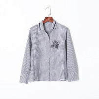 shirt White + Black XS,S,M Autumn of 2019 other 96% and above Long sleeves Versatile Regular Single row multi button routine stripe 18-24 years old Other / other