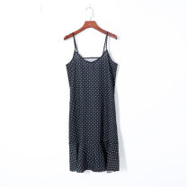 Dress Summer of 2019 White spots on black S,M,L Mid length dress singleton  Sleeveless V-neck Loose waist Dot Socket Ruffle Skirt camisole 18-24 years old Other / other 51% (inclusive) - 70% (inclusive) other