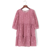 Dress Autumn 2020 Bean paste XS,S,M,L Short skirt singleton  three quarter sleeve Crew neck High waist Socket Others 18-24 years old Other / other 51% (inclusive) - 70% (inclusive) other other