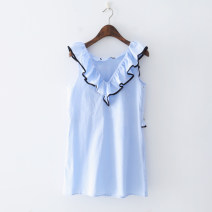Dress Spring of 2019 blue S,M,L Short skirt singleton  Sleeveless V-neck Loose waist 18-24 years old Other / other 51% (inclusive) - 70% (inclusive) other