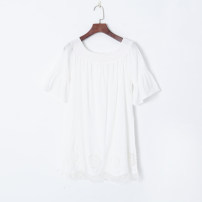 Dress Spring 2021 White, blue S,M,L Short skirt singleton  Short sleeve One word collar Loose waist Solid color Socket pagoda sleeve Others 18-24 years old Other / other 51% (inclusive) - 70% (inclusive) other other