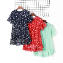 Dress Summer 2020 Red, green, navy XL,2XL,3XL,4XL Middle-skirt singleton  Short sleeve Crew neck Elastic waist Socket Irregular skirt pagoda sleeve Others 18-24 years old Other / other 51% (inclusive) - 70% (inclusive) other other
