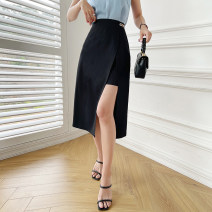 skirt Summer 2021 XS,S,M,L black Mid length dress commute High waist A-line skirt Solid color Type A 25-29 years old 91% (inclusive) - 95% (inclusive) other Island song lady polyester fiber Zipper, split Simplicity