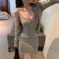 Fashion suit Spring 2020 Average size Grey, pink, black 18-25 years old 81% (inclusive) - 90% (inclusive) cotton