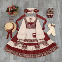 Dress Autumn 2020 One size cloak, one size apron, one size hairband, berry bag, one dress, berry girl's full set S,M,L Mid length dress Three piece set Long sleeves Sweet Crew neck middle-waisted Solid color Single breasted Princess Dress routine 18-24 years old Type A More than 95% other cotton