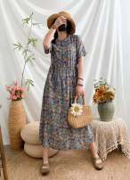Dress Summer 2021 Average size Mid length dress singleton  Short sleeve commute stand collar Socket routine Continuation of painting literature 51% (inclusive) - 70% (inclusive) hemp
