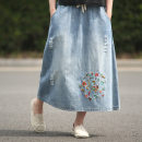 skirt Autumn of 2018 M L blue Mid length dress commute Natural waist A-line skirt Decor Type A Y1863NQ1 81% (inclusive) - 90% (inclusive) Denim Continuation of painting other literature