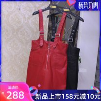 Dress Spring 2021 Black, red M,L,XL,2XL,3XL Short skirt singleton  Sleeveless commute V-neck middle-waisted Solid color Socket A-line skirt routine straps 25-29 years old Type H Pocket, zipper LY More than 95% Sheepskin