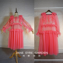Dress Autumn 2020 Watermelon red (skirt length 90-95cm), customize other colors, other sizes, please take this link Please quote the size for your custom Middle-skirt singleton  Long sleeves Crew neck Loose waist Solid color Socket other puff sleeve Others Type H Jane Eyre Garden