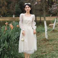 Dress Summer 2021 Apricot white S,M,L,XL Mid length dress singleton  Long sleeves square neck High waist puff sleeve Others 18-24 years old Other / other 3133 real shot other