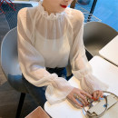 Lace / Chiffon Spring of 2019 Apricot Average size Long sleeves Versatile Socket easy Regular Solid color 30% and below
