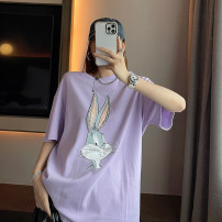T-shirt White, purple Average size Spring 2021 Short sleeve Crew neck easy Medium length routine commute cotton 71% (inclusive) - 85% (inclusive) 18-24 years old Korean version classic Cartoon animation Other / other printing