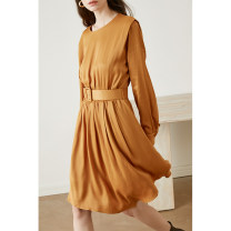 Dress Spring 2021 Black, ginger XS,S,M,L Short skirt singleton  Long sleeves commute Crew neck High waist Solid color Socket A-line skirt shirt sleeve Others 25-29 years old Type A HeyDress Simplicity Tuck, fold, lace, strap, button HQZA344 More than 95% other other