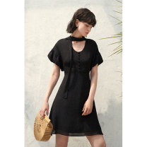 Dress Summer 2021 black XS,S,M,L Short skirt singleton  Short sleeve commute other High waist Solid color zipper A-line skirt bishop sleeve Others 25-29 years old Type A HeyDress Simplicity Bowknot, tuck, fold, lace, bandage, wave, button, zipper HQZA219 More than 95% Chiffon polyester fiber