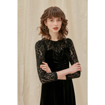 Dress Winter 2020 black XS,S,M,L Mid length dress singleton  Long sleeves commute Crew neck High waist Solid color zipper A-line skirt routine Others 25-29 years old Type A HeyDress Retro Flocking, hollowing, pleating, embroidery, pleating, crocheting, hollowing, splicing, zipper, lace nylon