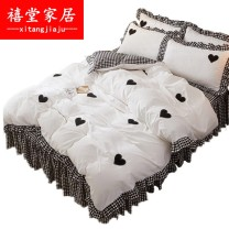 Bed skirt cotton Wish -- black and white wish -- jade wish -- pink bright dream, red grid, sunny grid, rainy grid, black grid in my heart, green grid, wood with branches, black grid in my eyes Xtang home Solid color Qualified products pddiYsQjQpdd