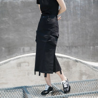skirt Summer 2020 S,M,L black Mid length dress Versatile High waist skirt Solid color Type H 18-24 years old SQ-6153 More than 95% other Simple BLACK cotton Tassel, pocket, tridimensional decoration 201g / m ^ 2 (including) - 250G / m ^ 2 (including)