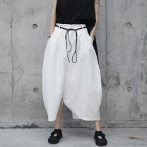 Casual pants white S,M,L Summer 2017 Ninth pants loose  Natural waist original Thin money 18-24 years old 51% (inclusive) - 70% (inclusive) K-123 Simple BLACK hemp hemp