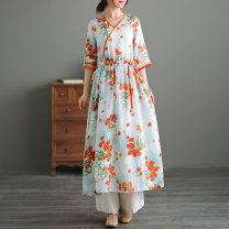 Dress Summer 2021 Picture color M, L longuette singleton  elbow sleeve commute V-neck High waist Decor Socket Big swing routine Type H Other / other literature Pocket, print, lace up, fold, hem More than 95% other hemp