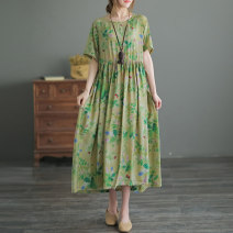 Dress Summer 2021 Green, blue and orange M, L longuette singleton  Short sleeve commute Crew neck High waist Decor Socket A-line skirt routine Type H Other / other literature Printing, 3D, stitching, pleating, lace up, pleating 31% (inclusive) - 50% (inclusive) other hemp
