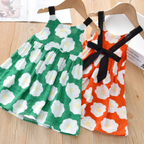 Dress Orange, green female Little shine house 90cm,100cm,110cm,120cm,130cm Other 100% summer Korean version Skirt / vest cotton Class B 12 months, 18 months, 2 years old, 3 years old, 4 years old, 5 years old, 6 years old, 7 years old Chinese Mainland Guangdong Province Foshan City