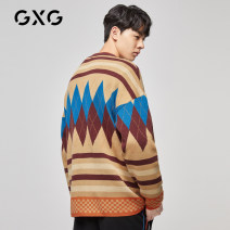 T-shirt / sweater GXG Youth fashion khaki 165/S 170/M 175/L 180/XL 185/XXL 190/XXXL routine Cardigan V-neck Long sleeves GY130214E autumn Straight cylinder 2019 Polyacrylonitrile fiber (acrylic fiber) 50.9% wool 49.1% leisure time tide youth routine Geometric pattern Autumn of 2019 Color contrast