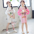 T-shirt White, pink Other / other 120cm,130cm,110cm,140cm,150cm,160cm,170cm female summer Short sleeve Crew neck Korean version There are models in the real shooting nothing Pure cotton (100% cotton content) Cartoon animation Class B other