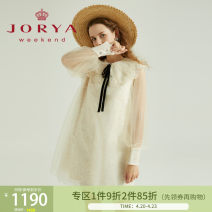 Dress Winter 2020 Milk honey yellow S,M,L,XL Short skirt Long sleeves Sweet Doll Collar middle-waisted other One pace skirt routine 25-29 years old Type H JORYA weekend Hollow, lace EJWBAQ58 polyester fiber princess