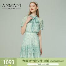 Dress Spring 2021 Light blue green S,M,L,XL Short skirt Short sleeve Sweet High waist zipper A-line skirt raglan sleeve 25-29 years old Type X Emmanuel printing EANBBG56 other other Countryside