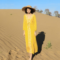 Dress Spring 2020 Yellow, red, white S,M,L,XL,2XL,3XL,4XL longuette singleton  Long sleeves commute V-neck High waist Solid color Socket A-line skirt routine Others 25-29 years old Type A Other / other ethnic style Embroidery, embroidery 000F563 71% (inclusive) - 80% (inclusive) other polyester fiber