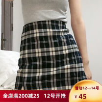 skirt Summer 2020 Average size Short skirt Versatile High waist A-line skirt lattice 51% (inclusive) - 70% (inclusive) polyester fiber