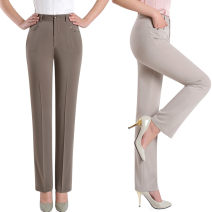 Middle aged and old women's wear Summer 2020 Dark Khaki, apricot fashion trousers Straight cylinder singleton  Solid color 40-49 years old Cardigan thin New deep Khaki Beige Irunger pocket trousers