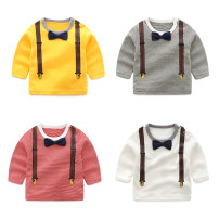 T-shirt Yellow gentlemanly top, white gentlemanly top, dark grey long sleeve top, big red long sleeve top Bella 66cm,73cm,80cm,90cm,100cm neutral spring and autumn Long sleeves Crew neck leisure time No model nothing other Solid color fztx01021653