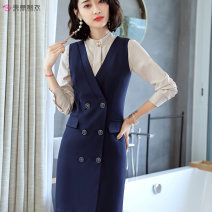 Dress Spring of 2019 S,M,L,XL,2XL,3XL Middle-skirt Sleeveless commute V-neck Solid color Socket other other Others Other / other Ol style More than 95% polyester fiber