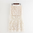 skirt Summer 2020 Average size Off white Mid length dress Versatile Natural waist skirt Solid color Type A 81% (inclusive) - 90% (inclusive) Other / other cotton Gouhua hollow