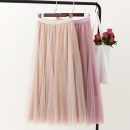 skirt Summer of 2019 Average size Pink, off white, black, smoke grey, coffee Mid length dress Versatile Natural waist Pleated skirt Solid color Type A Other / other