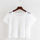 Lace / Chiffon Summer 2020 White, black Average size Short sleeve commute Socket singleton  easy have cash less than that is registered in the accounts Crew neck Solid color routine Lace literature 81% (inclusive) - 90% (inclusive)