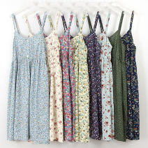 Dress Summer of 2018 Short skirt singleton  Sleeveless commute Crew neck Loose waist Broken flowers Socket Big swing camisole Type A Other / other lady Button, print More than 95% cotton