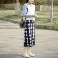 skirt Winter 2020 Average size Tibetan diamond longuette Sweet High waist lattice Type H 18-24 years old BQ20121003 cotton