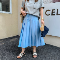 skirt Spring 2021 L,XL,2XL,3XL,4XL,5XL Mid length dress commute High waist A-line skirt Solid color Type A 18-24 years old 51% (inclusive) - 70% (inclusive) other cotton